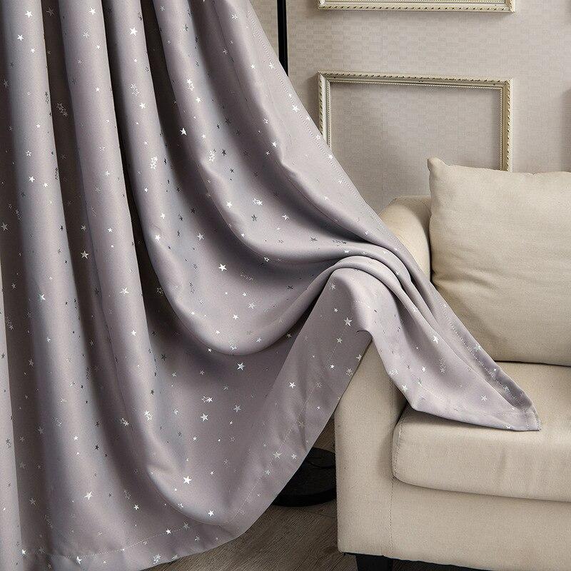 [Byetee] estrella gris cortina de ventana de tela apagón de cortinas para sala de estar dormitorio Rideaux Occultant Voilage