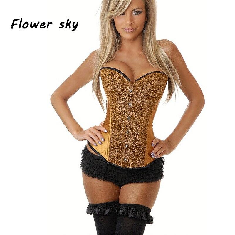 Corsés y corpiños de flores y cielo, corsés sexis de encaje negro dorado, Tops para mujer, Corselet, camisetas sin mangas para mujer