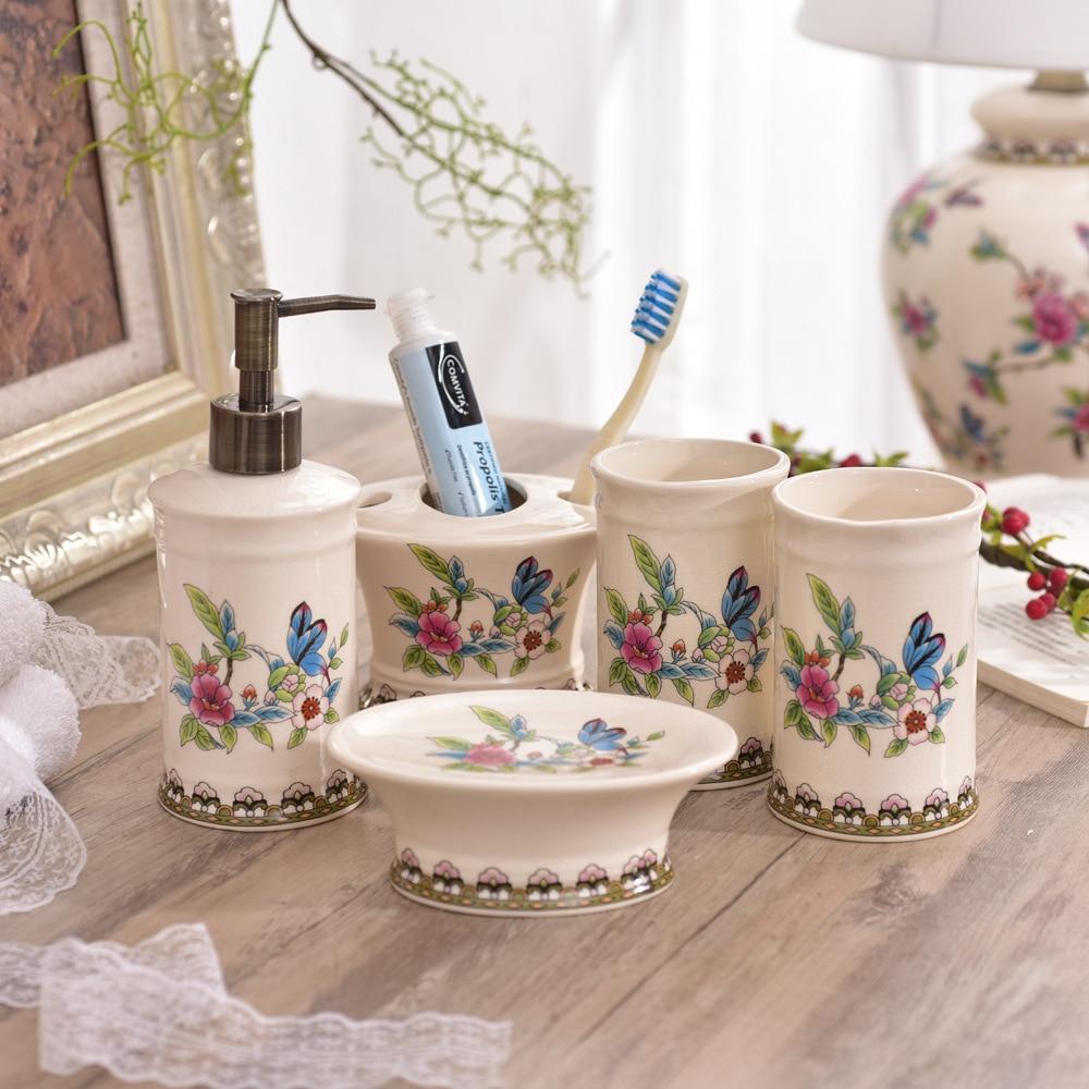 American Ceramic Creative Ceramic Bathroom Washing and Rinse Five-piece Bathroom Set Washing and Rinse Goods Wedding Gift enlarge