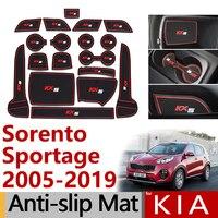 Anti-Slip Rubber Gate Slot Cup Mat for KIA Sorento XM UM Sorento Prime Sportage JE KM SL QL Accessories Stickers 2010 2013 2015