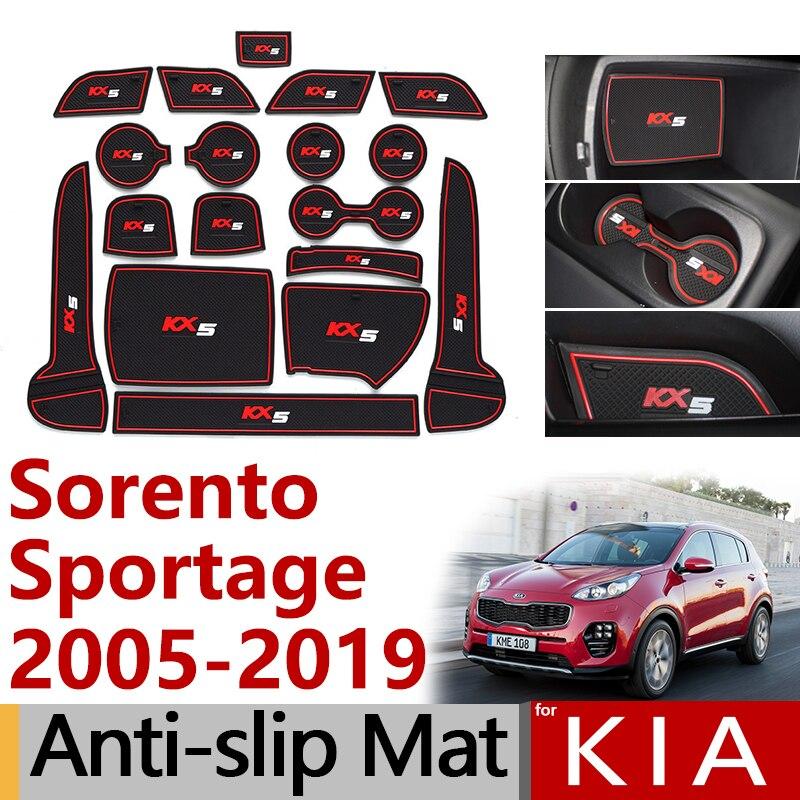 Alfombrilla antideslizante para ranura de puerta de goma para KIA Sorento XM UM Sorento Prime Sportage JE KM SL QL, accesorios adhesivos 2010 2013 2015