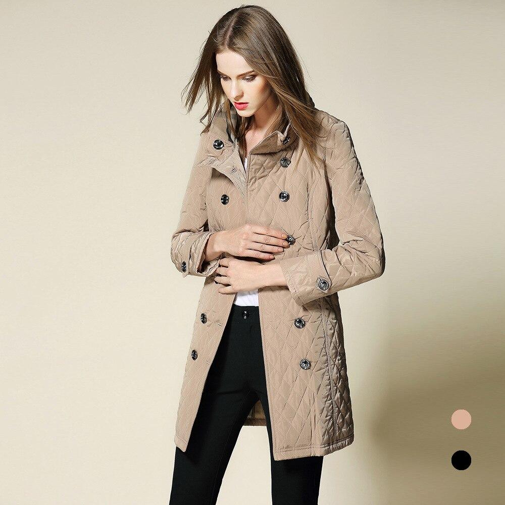 2018 new fashion Autumn winter women 's Coat British Style slim Outer Wear stand neck Parkas Cotton