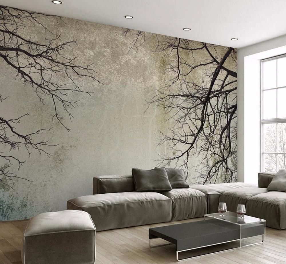 Обои на заказ в ретро стиле, простой скандинавском стиле, ветка дерева, неба, ТВ фон, настенная 3d обои для гостиной, спальни
