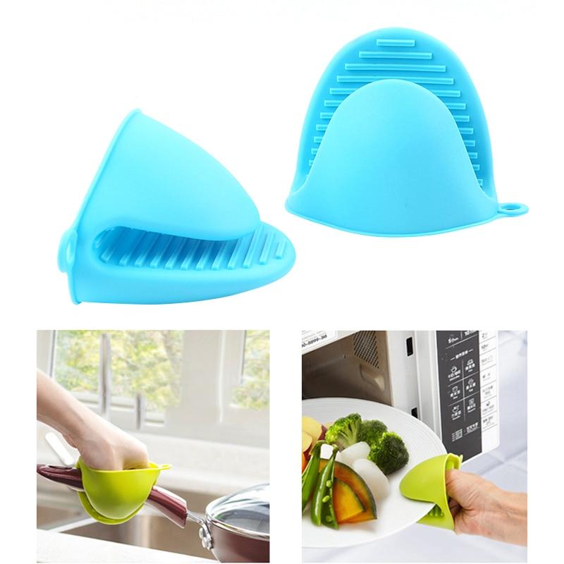 1 pçs engrossar luvas à prova de calor de silicone de grau alimentício cozinha forno de microondas luva protetor de mão antiderrapante isolamento térmico