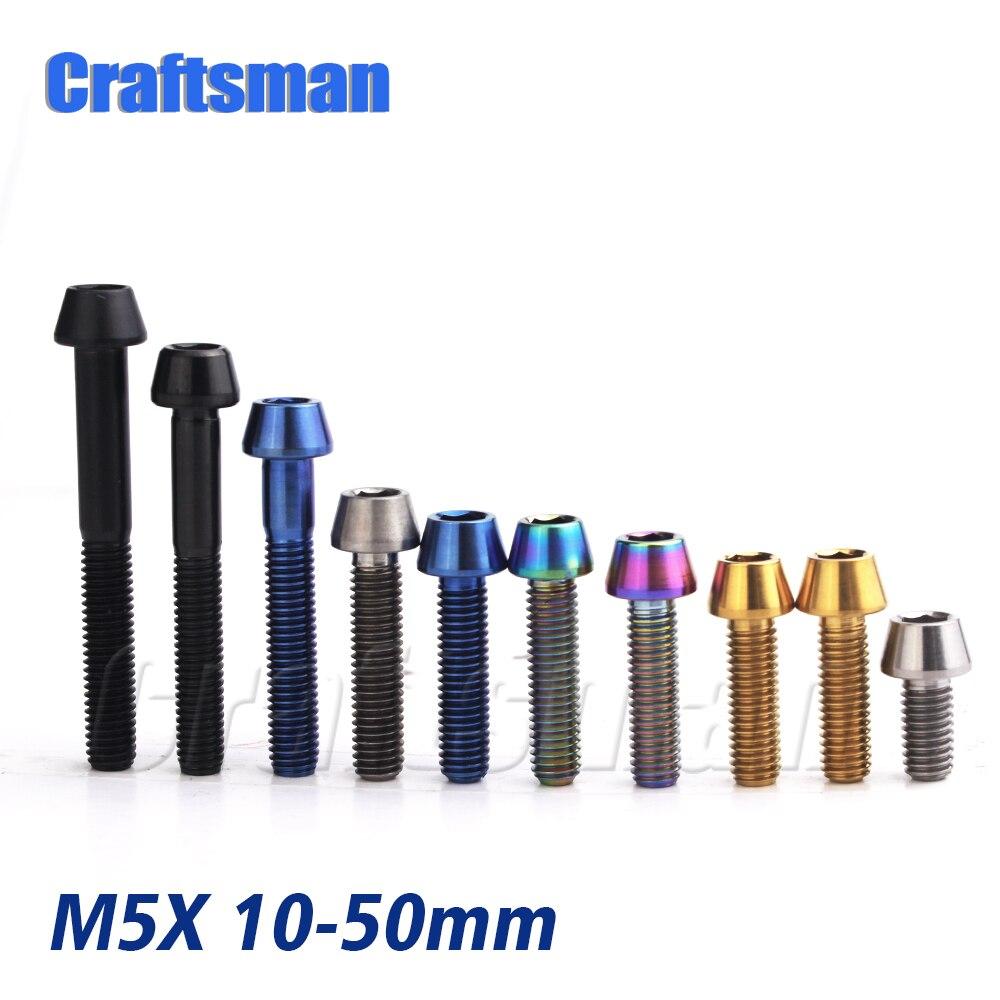 Titanium Ti M5 x 10 12 16 18 20 25 30 35 40 45 50 mm Allen Key Taper Head Bolt Screw for Bicycle Stem Seatpost Bicycle Parts GR5