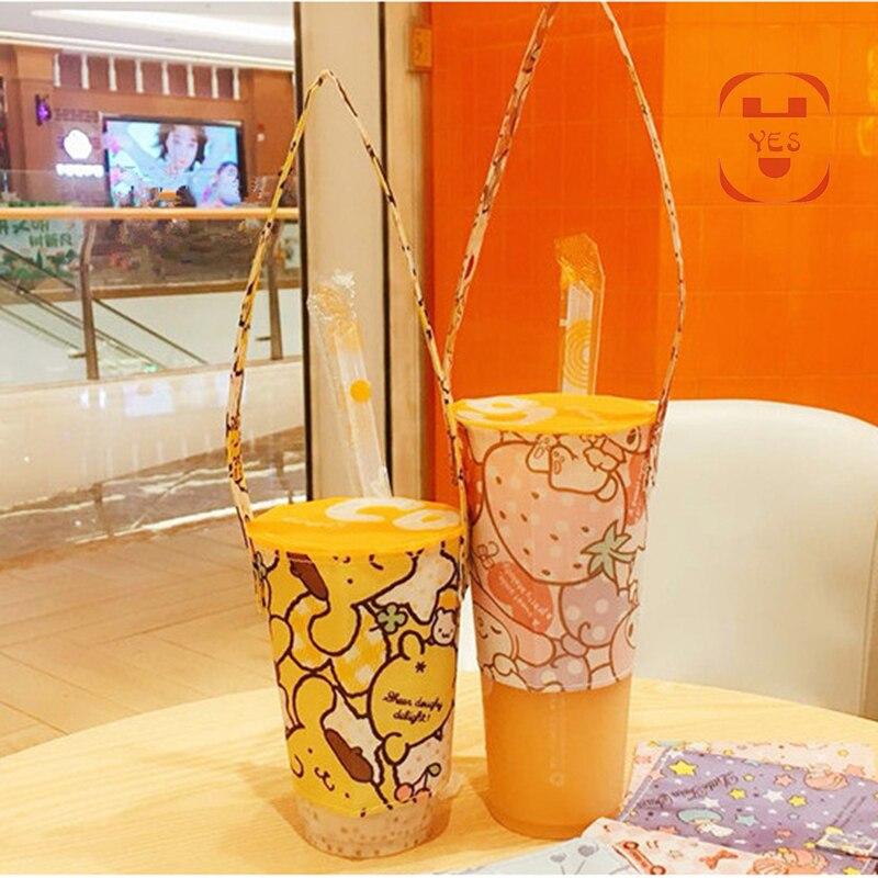 Sí bolsa para bebidas ecológica de dibujos animados, bolsa de lona, bolsa de mano para té y café, bebida de mano, té de la leche, bolso color café, bolsa de lona