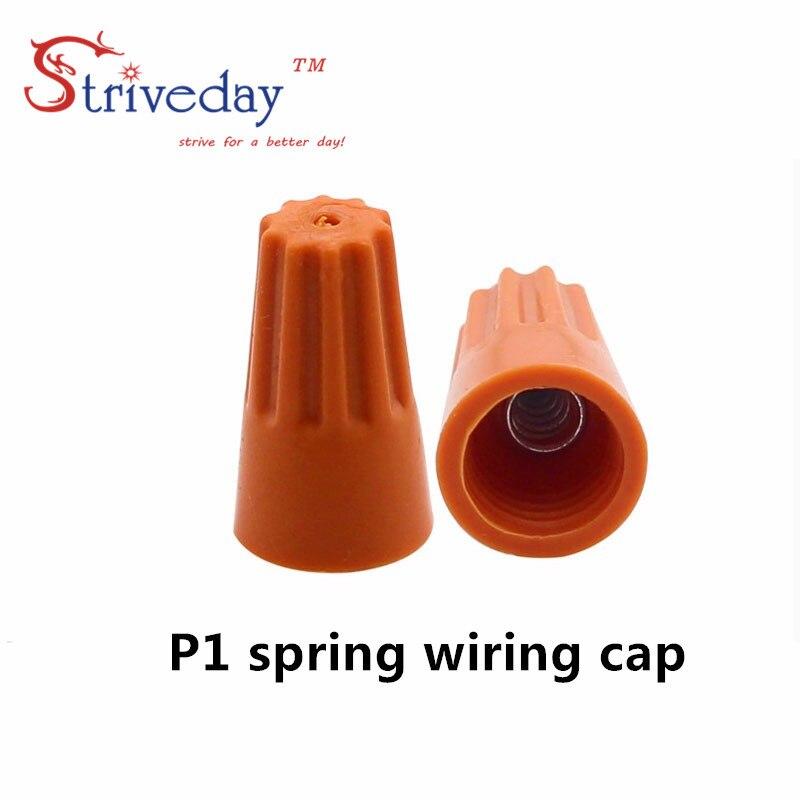 100pcs/lot P1 Splice Wire Twist Nut Connector Terminals Cap Spring Insert Assortment Color Orange