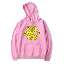 Pink Red EXO Sweatshirt Pullover EXO Logo Print Winter Cotton Women Men Hoodies Sweatshirts EXO Clothes 4XL