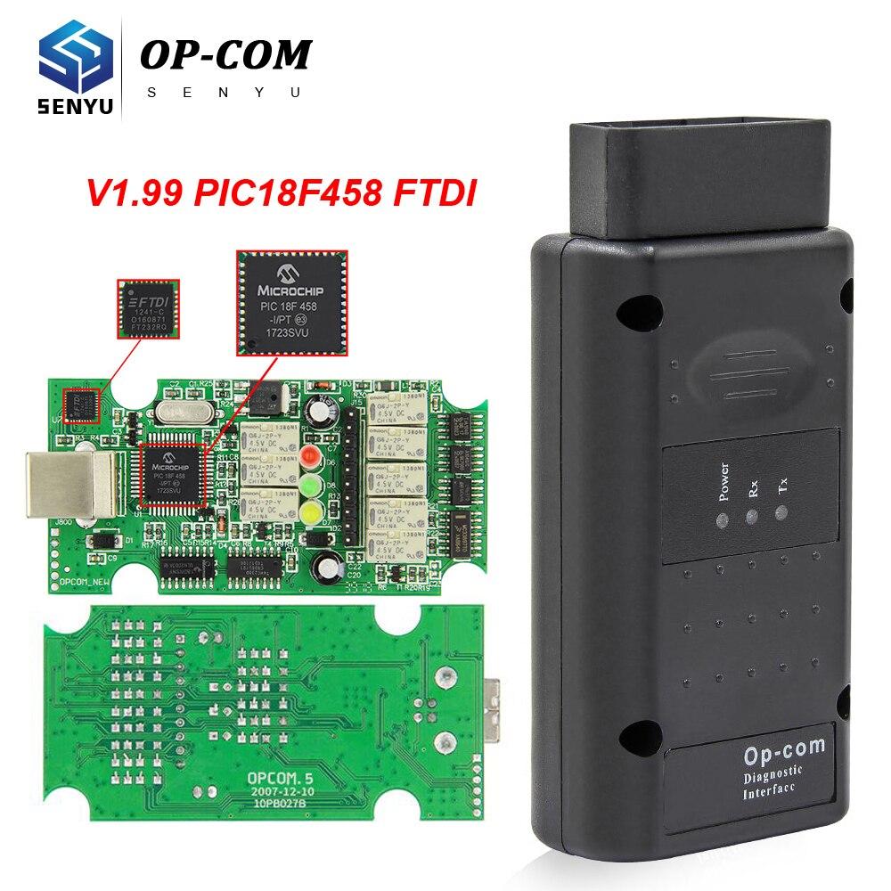 Para opel opcom 1.99 pic18f458 ftdi ft232rq obd obd2 scanner automotivo pode ônibus ferramenta de diagnóstico do carro op com 2014v para opel