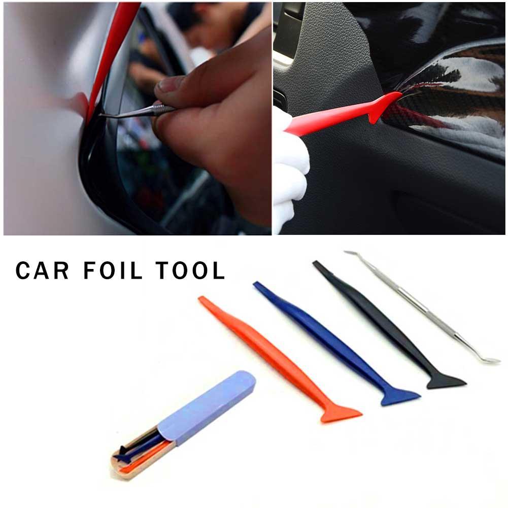 4 piezas accesorios de vinilo para el coche rascador de exprimidor largo herramientas de vinilo para envolver el coche herramientas de tinte de ventana herramienta de papel de coche pegamento quitar