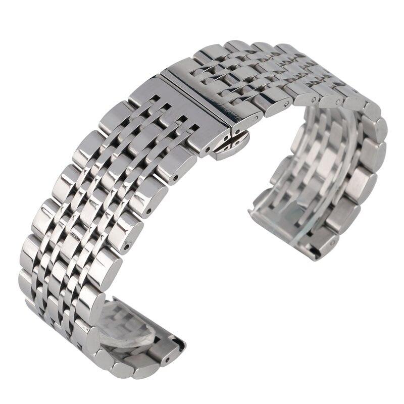 20mm 22mm 24mm correa de reloj de lujo de acero inoxidable plateado correa de reloj con botón cierre oculto + 2 barras de resorte