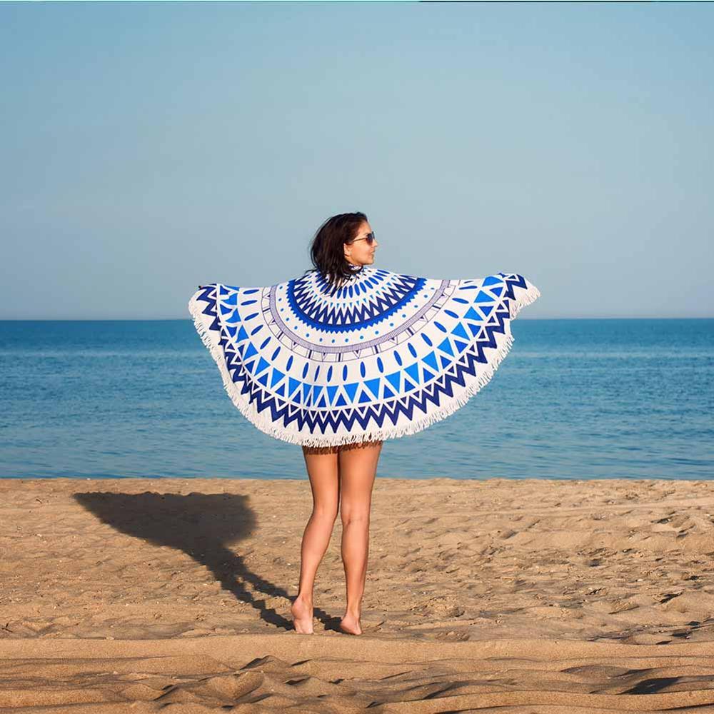 Toalla de Playa redonda de Mandala azul de verano para adultos baño deportivo bohemio toallas de microfibra alfombra de piscina Toalla Playa Serviette Plage