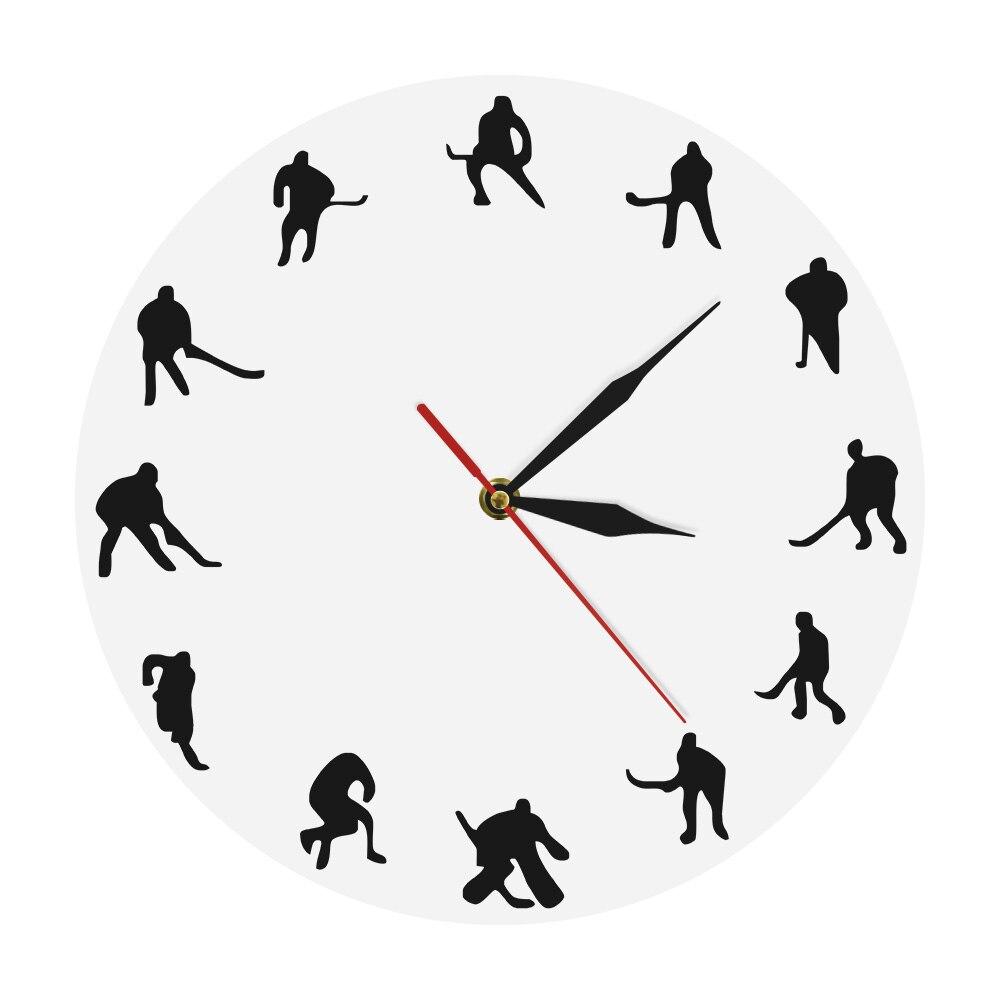 Sport Theme Hockey Decorative Wall Clock Field Hockey Icon Clocks Watches Wall Clock Home Decoration