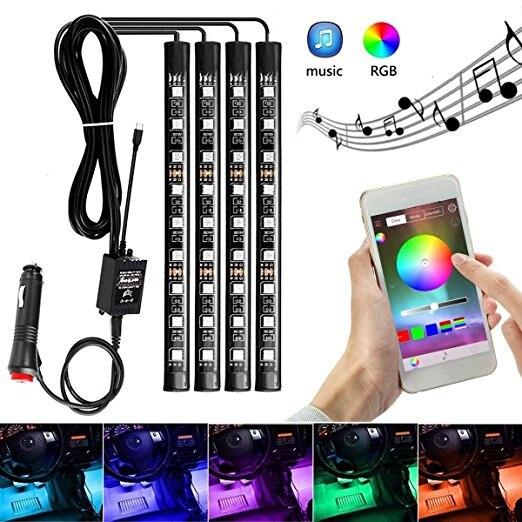 9 LED RGB, Lámpara decorativa para interiores de coche, lámpara de ambiente, tira de luces, teléfono inteligente inalámbrico, Control de aplicación, estilo de coche