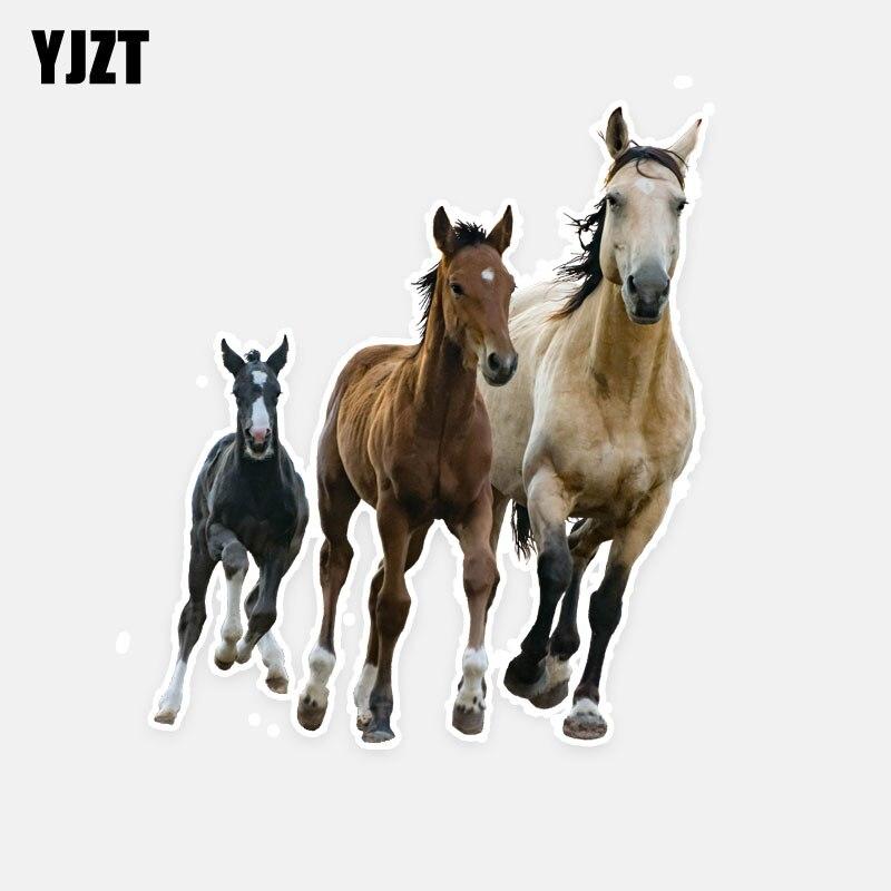 YJZT 11CM*12.7CM Creative Animal Running Horse PVC Car Sticker Decal Graphical 5-0729