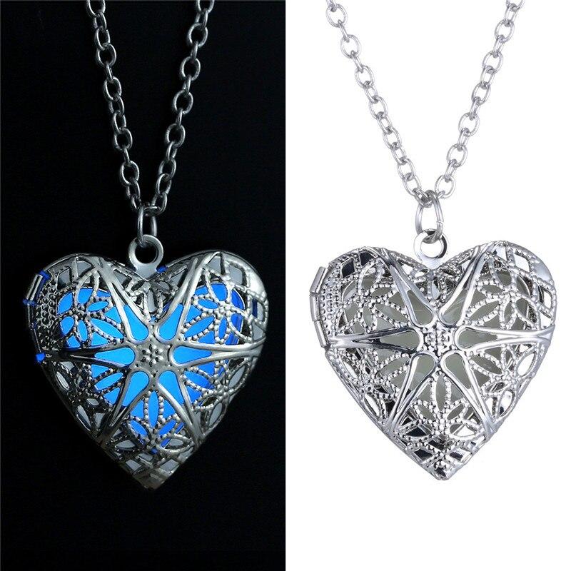 2020 nuevo enchapado en plata luminoso Collar de corazón de amor hueco que brilla en la oscuridad colgante collares joyería regalos del Día de San Valentín