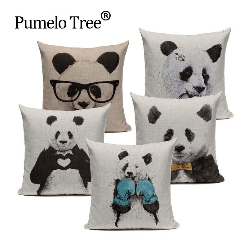 Funda de cojín decorativa de lino con diseño de Panda 45Cm x 45Cm