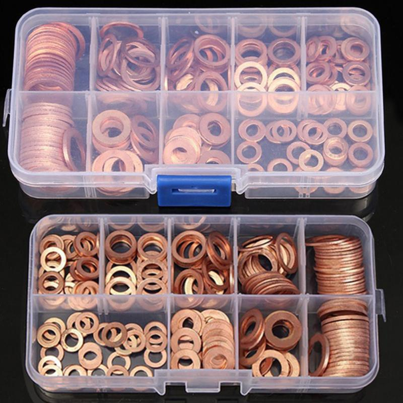 200Pcs copper Washer Gasket Nut and Bolt Set Flat Ring Seal Assortment Kit with Box //M8/M10/M12/M14