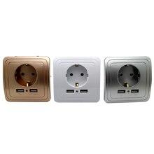 3 kleuren Smart Home Beste Dual Usb-poort 2000mA Wall Charger Adapter 16A EU Standaard Stopcontact Stopcontact panel