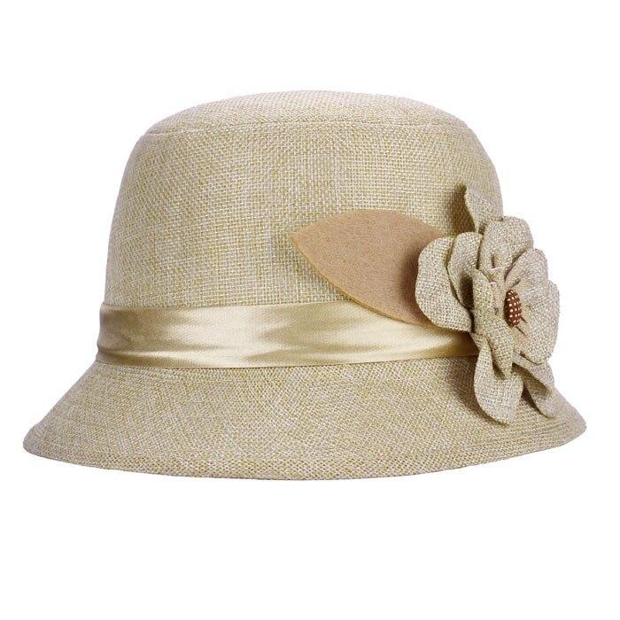 New Fashion Women Flax Flower shade Hat sun protection sun hat top hat Tea Party Wedding cap Hot Sal