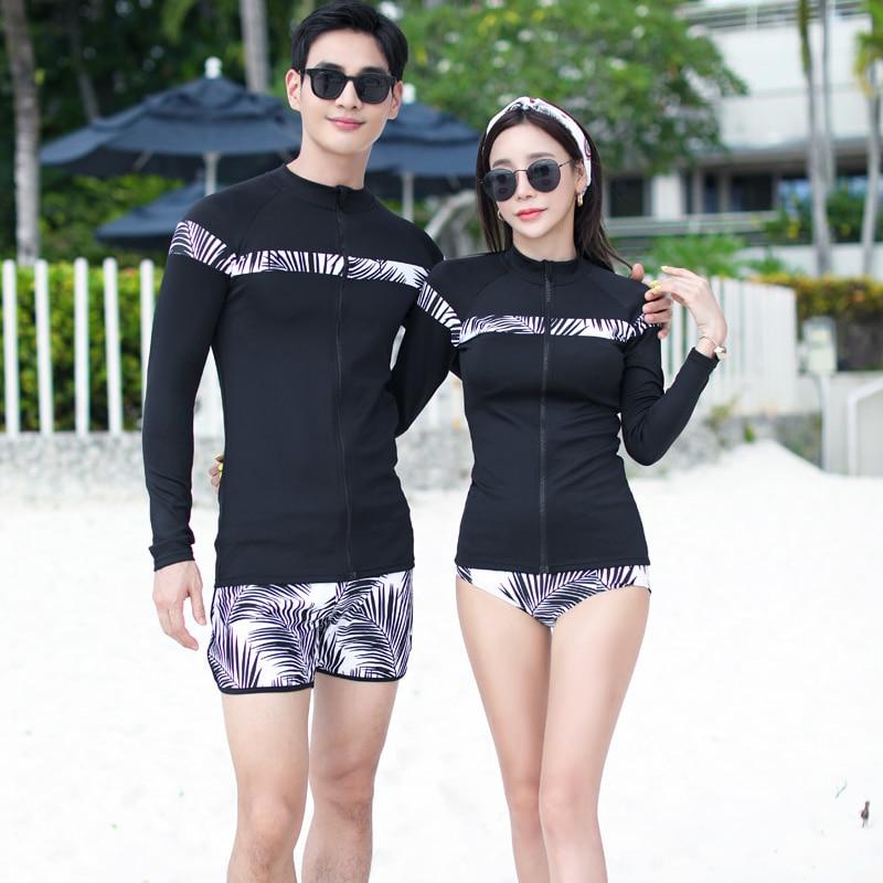 Couples Rash Guards Men Women black printed Jacket Shorts Pants Sports Swimwear Surfing Bathing Suits Rashguard Beachwear 2019