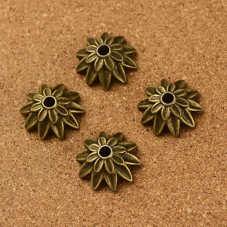 Venta al por mayor vintage 90 Uds antiguo bronce flor perla encanto diy joyería hallazgos 3mm hola dia