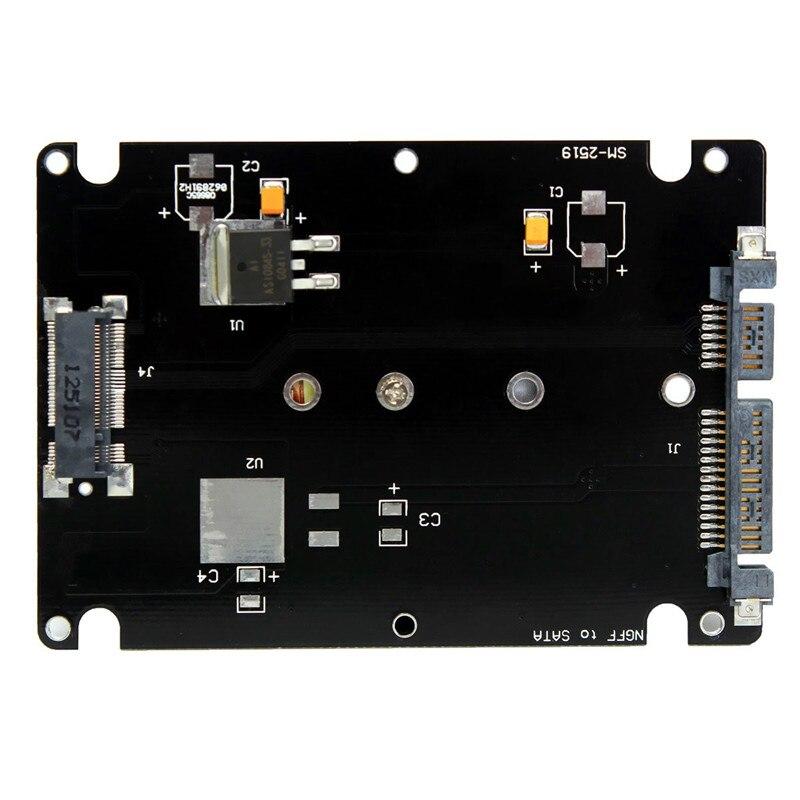 Carcasa de Metal negro M.2 a Sata adaptador B Llave 2 M. 2 NGFF (SATA) SSD a 2,5 SATA tarjeta adaptadora con funda