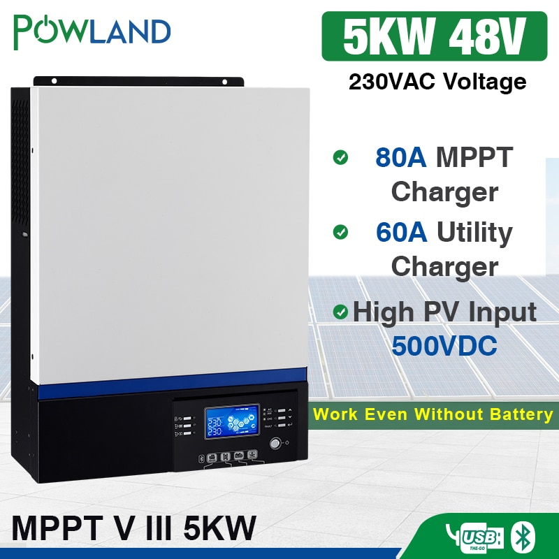 Solar Inverter 500Vdc 5000W 80A MPPT 48V 220V Off Grid Inverter 5Kva Reine Sinus Welle Inverter 60A batterie Ladegerät