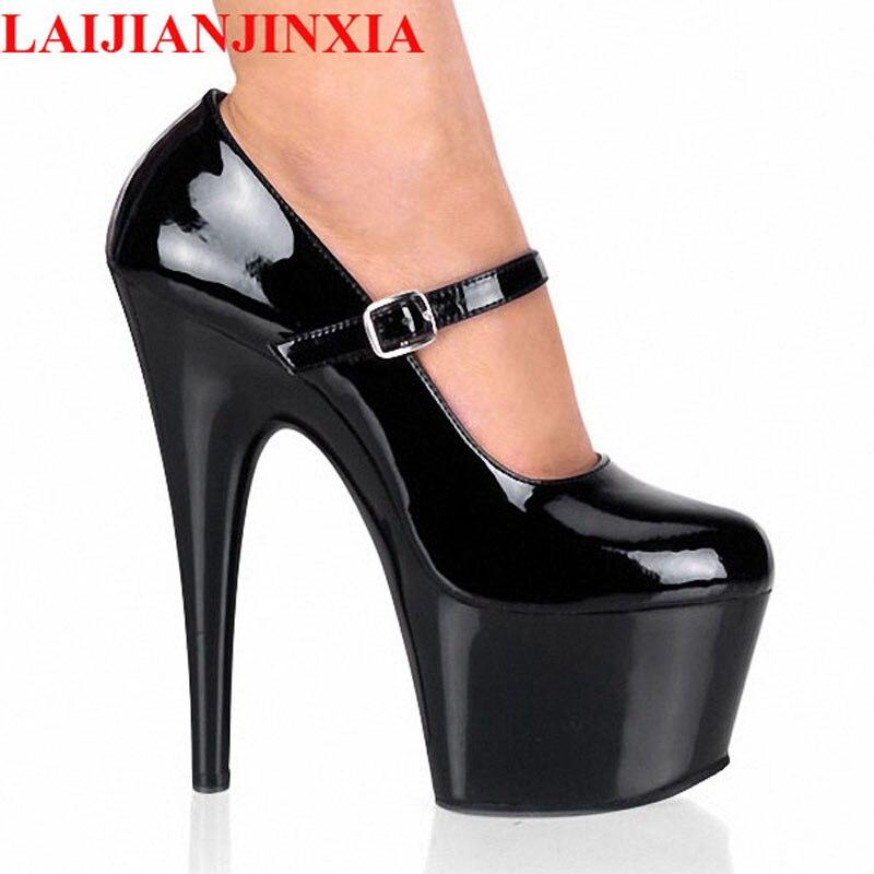 LAIJIANJINXIA, nuevas plataformas de Primavera/otoño para mujer, de 15cm de cabeza redonda charol de boda, tacones finos, zapatos de tacón alto para mujer