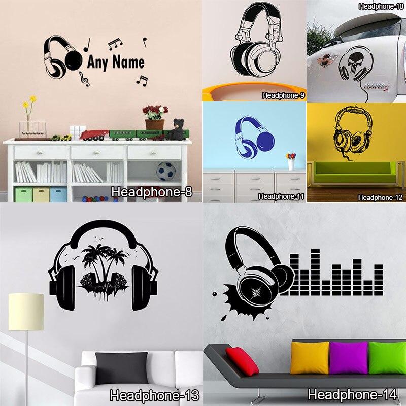 Lustige DIY Musik DJ Kopfhörer Wand Aufkleber Jungen Zimmer Wand Dekor Vinyl Decals Musik Ist Mein Leben Mode-Design Zu Hause dekoration