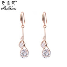 Novo estilo coreano banhado a ouro rosa brinco feminino moda jóias zircônia cúbica pendurado brinco feminino eh1021