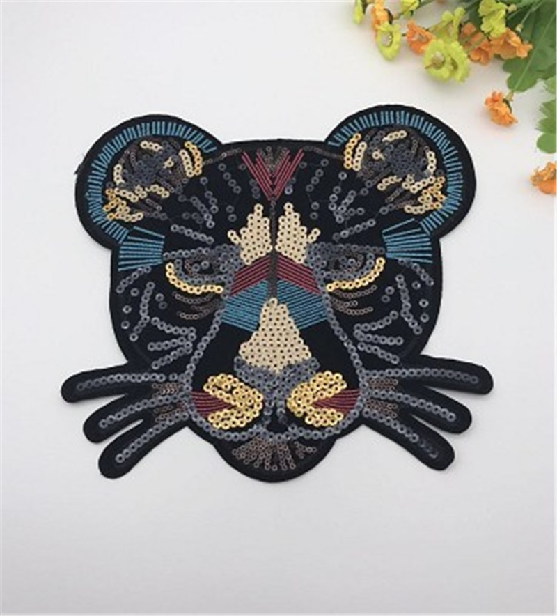 Bordado de cabeza de leopardo negro encaje apliques de lentejuelas tela suéter parche para ropa pegatinas con lentejuelas camiseta diy Decoración