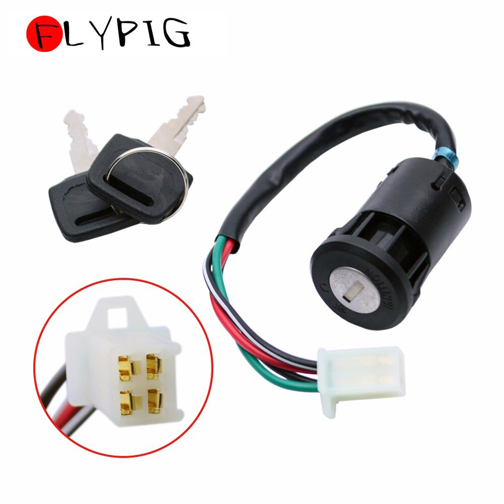 FLYPIG 4 cables interruptor de encendido clave para Yamaha BW50 BW80 FZ1 FZ6 FZ6R FZ8 FZ09 PW50 PW80 RT100 TTR225 TTR230 TTR250 TW200 TZ250