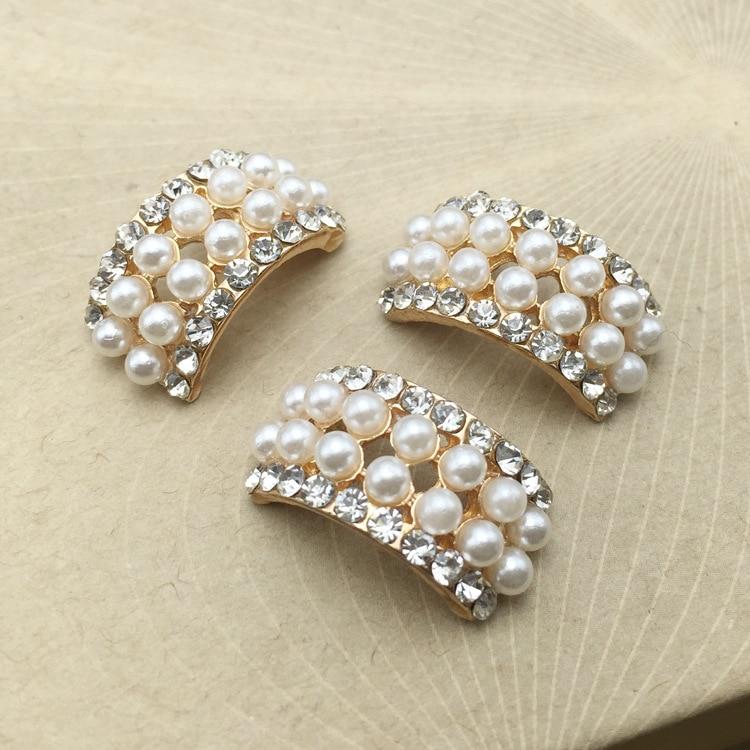 Lote de 10 Uds de botones de diamantes de imitación de perlas de cristal para manualidades, flor redonda con base plana, adorno de boda, joyería artesanal