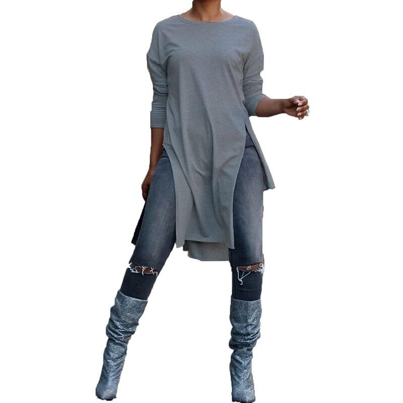 ZANZEA-Blusa larga Irregular para mujer, de manga larga, con cuello redondo y dobladillo dividido, lisa, suelta y larga, a la moda, camisa de fiesta, suéter de punto bajo de talla grande, 2020