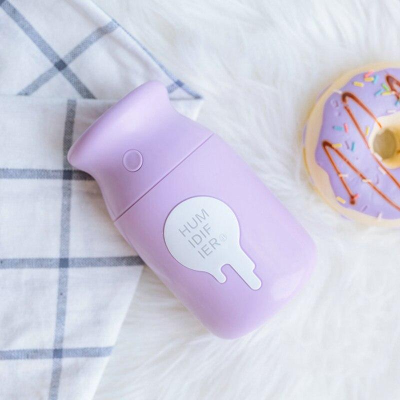 Cargador Usb Mini botella de leche humidificador generador de niebla portátil Mini humidificador de aire para difusor nebulizador de coche tres colores