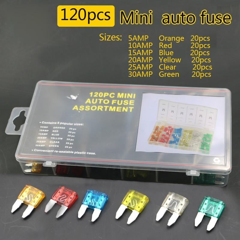 Flexsteel 120 unids/set Auto automotriz Auto camión hoja Mini caja de fusibles de 5A 10A 15A 20A 25A 30A para automoción barco