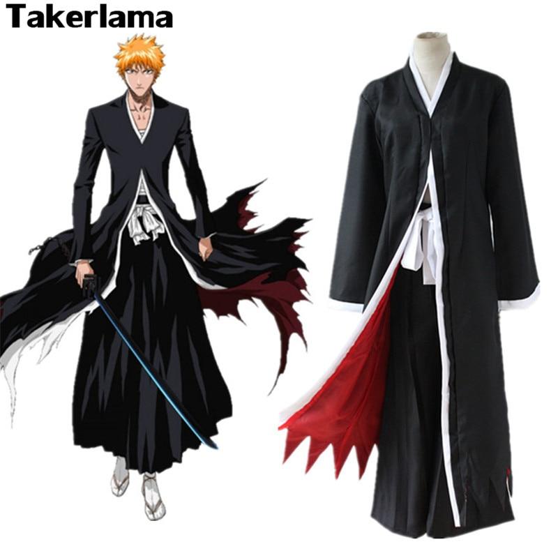 Takerlama Bleich Anime Kostüm Kurosaki Ichigo Mantel Mantel Mens Jungen Halloween Party Cosplay Kostüm Japanische Kleidung