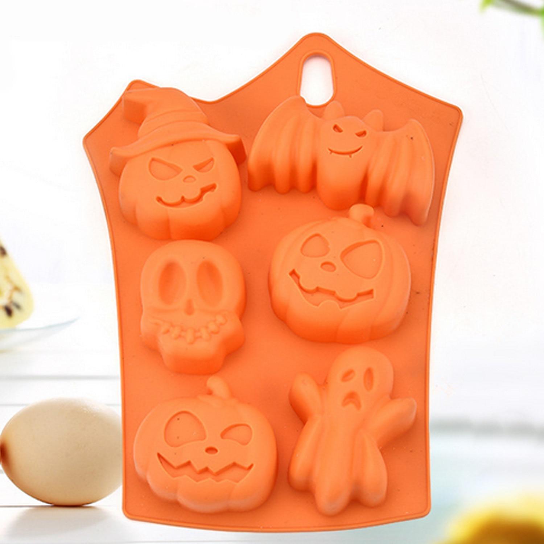 Behogar 6 rejillas calabaza murciélago cráneo fantasma forma Halloween molde de silicona para dulces molde para pudín de chocolate para decoración de fiesta de Halloween