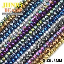 JHNBY Voetbal Facet shape Oostenrijkse kristal 200pcs 3mm vergulde kleur Ronde Losse kralen Sieraden armband accessoires maken DIY