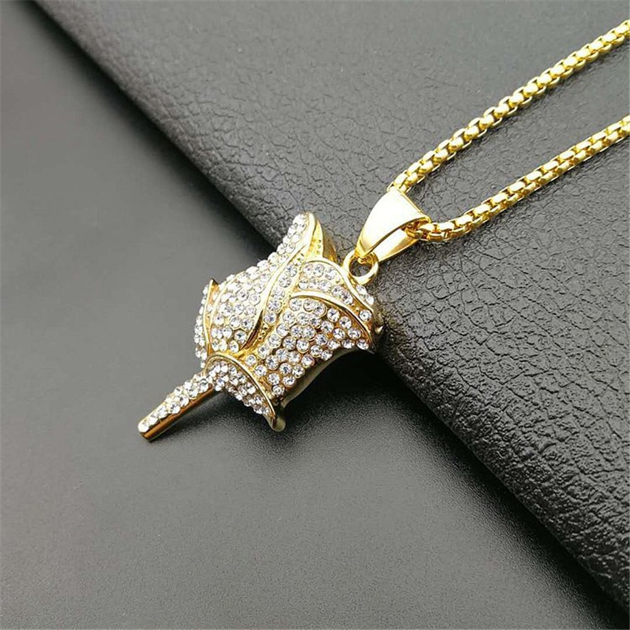 Dropshipping Gold Rose Flower Petals Necklace & Pendant With Stainless Steel Chain Iced Out Cubic Zircon Men Hip Hop Jewelry