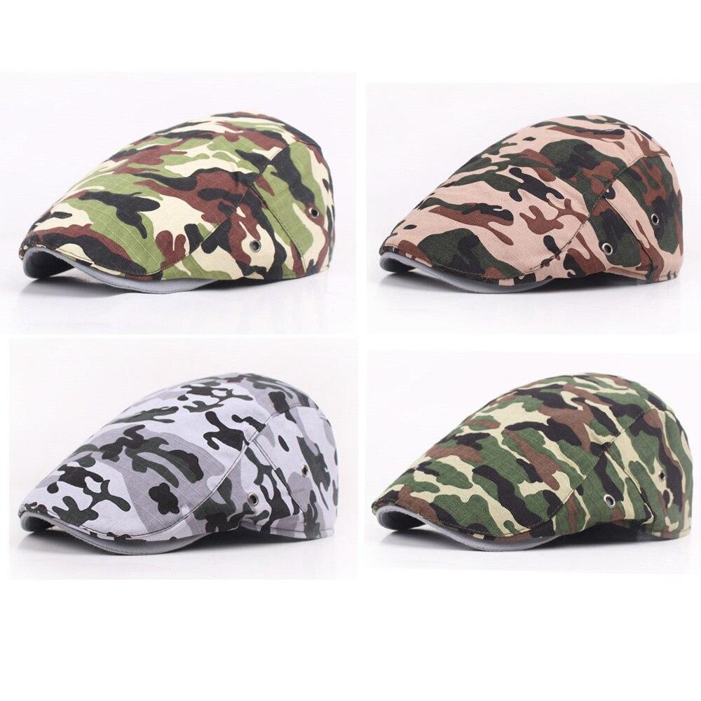 Hombres Mujeres Camo militar Ivy Flat sombrero de combate camuflaje Casquette ejército Peaked Cap HATCS0111