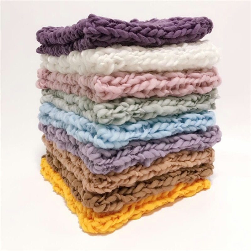 55*55 cm mini cobertor de lã crochê envoltório do bebê t adereços fotografia recém-nascidos, chunky malha cobertor cesta enchimento 12 cores