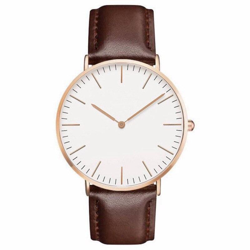 Reloj de cuarzo Casual a la moda con oro y plata, correa de reloj de cuero, reloj de pulsera, diseñador Simple para mujeres y hombres, relojes, Orologio