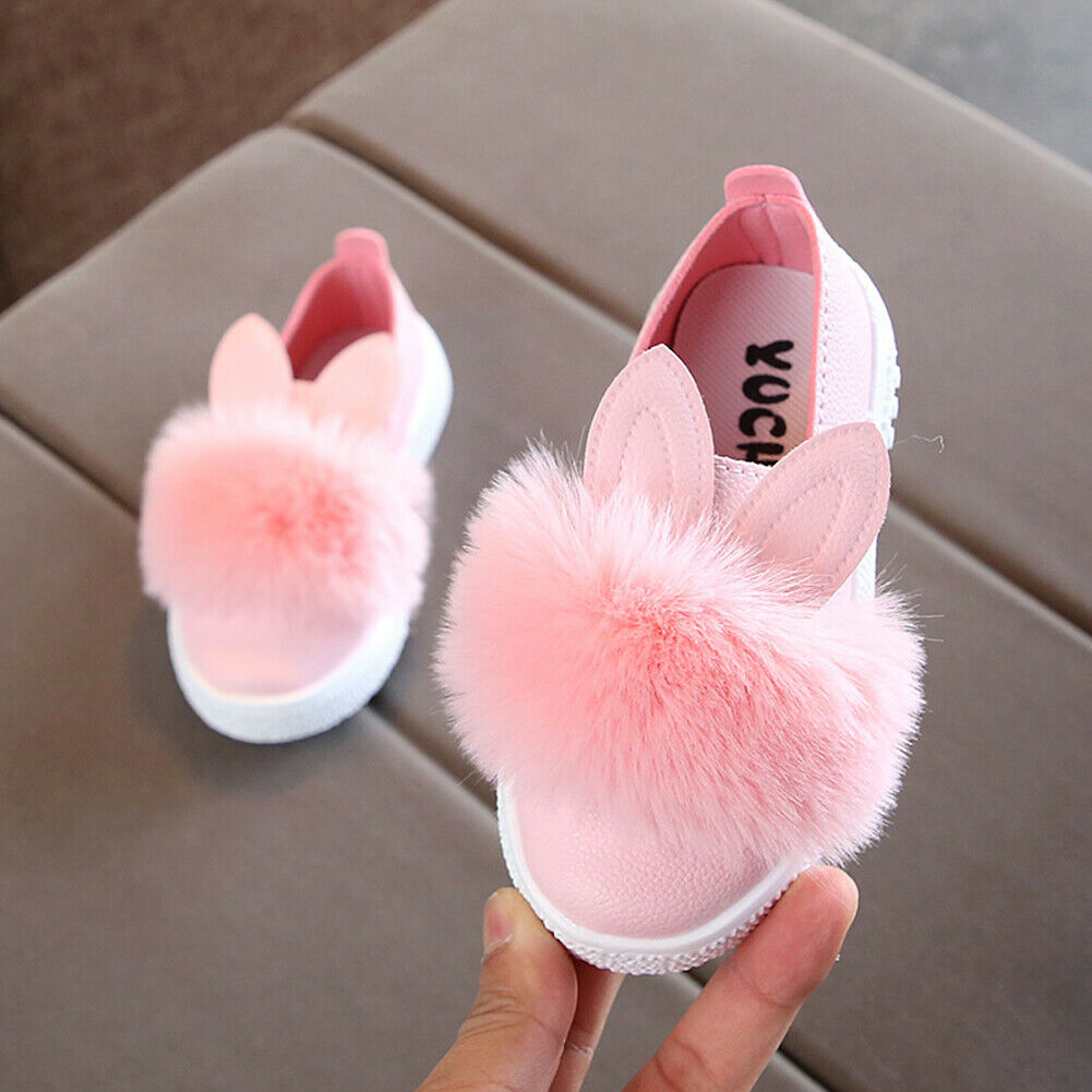 Fashion Baby Shoes Cute Animal Rabbit Pattern Plush Anti-slip Soft Sole Baby Shoes Fluffy Cartoon Infant Toddler Girl Footwear