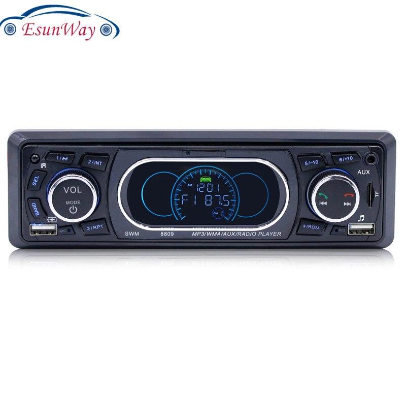 1DIN SWM 8809 Auto estéreo MP3 FM reproductor de Radio BT RCA mit Fernbedienung Dual USB Bluetooth Musik-jugador Verlustfreie musik