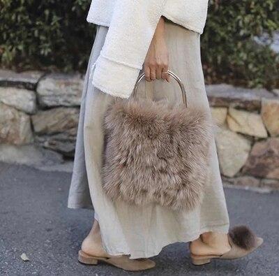 NEW real fox fur Genuine Leather lady's flap bag mini chain messenger bag one shoulder cross body bag cute fur handbag fox hair