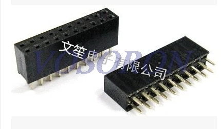 50 Uds 2,54mm 2X10 Pin doble fila hembra 20P toma de cabeceo recto tira