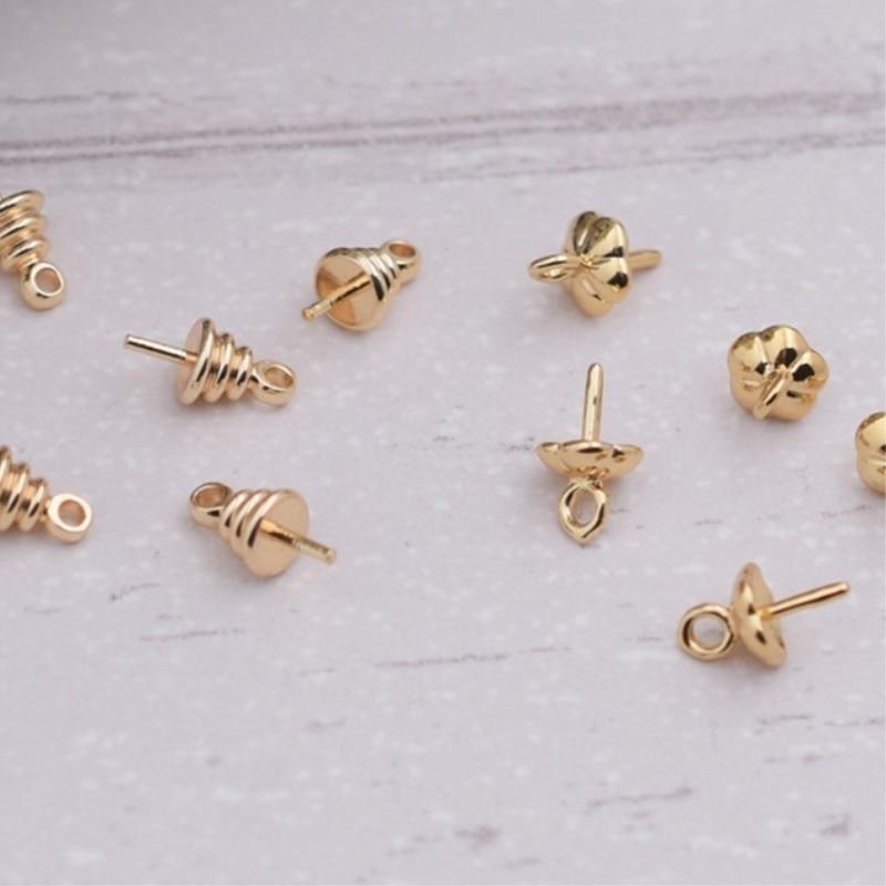 15 peças por lote de alta qualidade não-desvanecimento 5mm kc ouro cor whorls flor contas tampão jóias descobertas acessórios