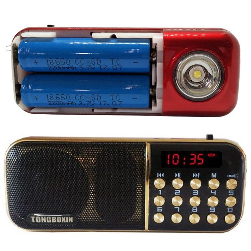 B-851SS Mit Starke LED Taschenlampe Tragbare FM Radio Lautsprecher USB TF Spieler Zwei Wiederaufladbare 18650 Batterie Zeit Uhr Funktion